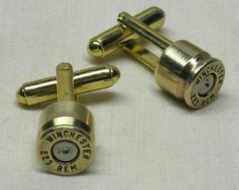 Bullet Cufflinks 223 Remington Military 5.56 Brass Wedding Cuff Links