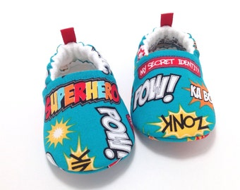 Superhero Baby Shoes - Blue, Soft Sole Baby Shoes, Baby Booties, Baby Shower Gift, Toddler slippers