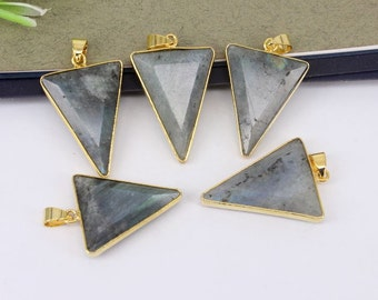 5-10pcs Nature Labradorite Stone Druzy Pendant,Triangle Shape,Druzy Gemstone Labradorite Pendant For Jewelry Making
