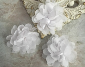 MINI white chiffon flower, chiffon flower, flower puff, material flower, headband flower, DIY supplies, fabric flower,