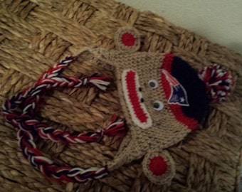 Crochet Patriots baby's hat.