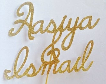 Personalised gold glitter name wedding cake topper - cake decoration- cup cake toppers-wedding- engagement party- love -custom made