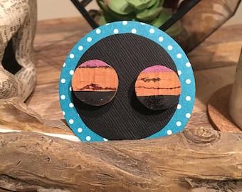 Upcycled Cork Earrings in Lavender/Black