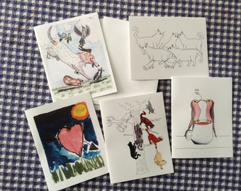 set of 5 - one of each design - blank note cards by emily burke - set of 5 with envelopes.