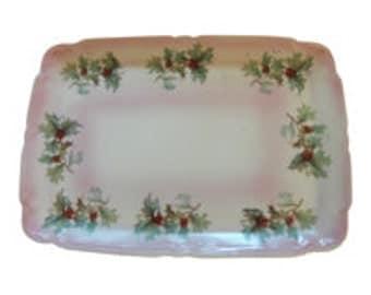 Antique German Porcelain Vanity Tray/ Dresser Tray Vintage Holly Design