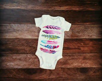 Pink Feather Baby Onesie