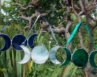 Stained Glass 'Triple Moon Goddess Symbol' Hanging Window/Wall Art, Perfect Gift Pagan,Goddess,Magic,Ritual,Charm,