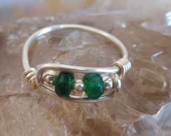 Natural Emerald Ring - Handmade Solid 925 Sterling Silver Ring - USA Size 2-12
