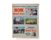 Petroliana 1947 Mobiloil Mobilgas Mobil Tires Ephemera Advertisements Ads Old Vintage Classic Retro Magazine Newspaper Images Ready Wall Art