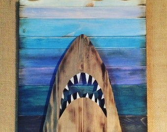 Handmade wooden Jaws wall art