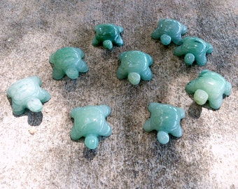 Carved Green Aventurine Turtle Totem