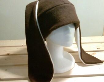 Brown Bunny Hat - Rabbit Ear Fleece Hat - Bunny Rabbit Hat - Bunny Fleece Hat - Rabbit Toque Hat - Bunny Beanie Hat - Easter Bunny Hat