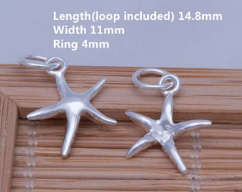 6 Sterling Silver Tiny Starfish Charms, Sterling Small Starfish Charms, 925 Silver Starfish Charms, Sterling Silver Starfish Necklace - E337