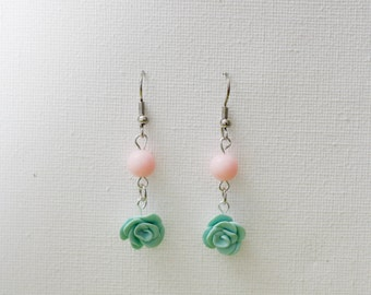 """Rose"" color mint earring"