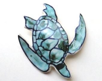 Ceramic Wall Sculpture ~Sea Turtle ~Wall Hanging ~Turtle ~ceramic wall art ~original ~ocean decor ~Sea Turtle ~ceramic sculpture ~Green
