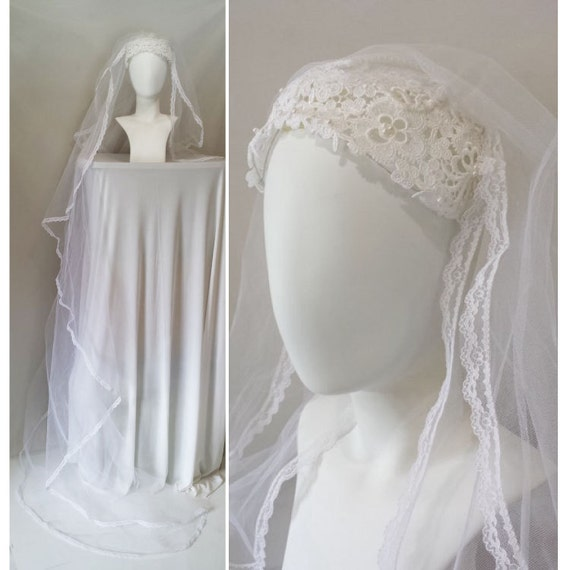 1960s 1970s Wedding Veil / Lace Veil / 60s 70s Wedding Veil / White Lace Trimmed Veil / white long cathedral train bridal tulle veil crown