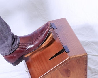 Wooden Shoe Shine Box with Foot Rest