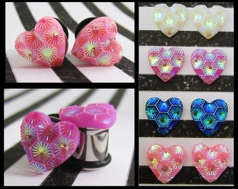 Gleaming Hexagon Heart EAR TUNNEL PLUG Earrings you pick the gauge size and color 6g, 4g, 2g, 0g aka 4mm, 5mm, 6mm, 8mm