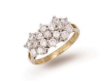 9ct Yellow Gold Cluster Cz Ring