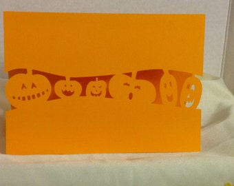 Silly Pumpkin Parade Halloween Card , Blank , Free Confetti , PaperCut , Trick or Treat , Kids