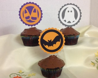 Halloween Cupcake Toppers , Ghost , Bat , Candy Corn , Witches Hat , Boo , Pumpkin , Party , Decor