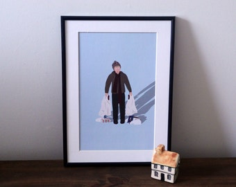 Home Alone A4 print - Home Alone illustration - Macaulay culkin - A4 art print- wall art - home decor - Kevin - Home Alone - Movie poster