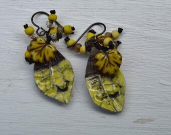 Boho yellow earrings ButterflyEmporium - DayLilyStudio