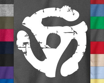 45 RPM ADAPTER Record Spider Hub Stereo Music DJ Soft Ringspun Cotton T-Shirt
