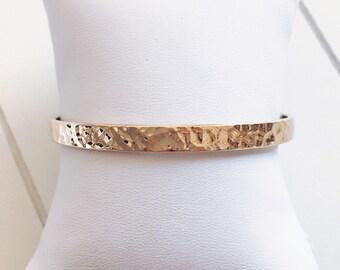 Gold plated hammered bracelet 750 - gold Bangle - gold plated bangle 18 k