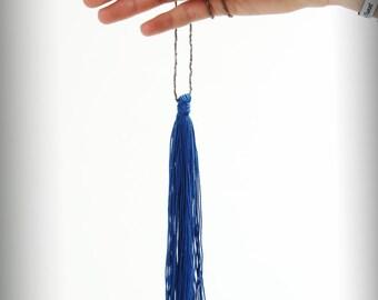 Blue pompom necklace