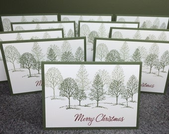 """Christmas Cards Set of 10 Cards  4 7/8"""" X 3 1/2"""", Christmas Note Cards, Stampin Up Cards, Greeting Cards, Holiday Cards, Christmas TreeCards"""