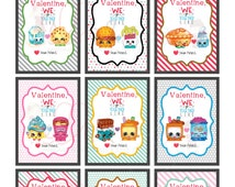 Printable Valentines, Shopkins Printable Valentines, Shopkins Cards, Shopkins Instant Download, Shopkins PDF, Kids Valentines