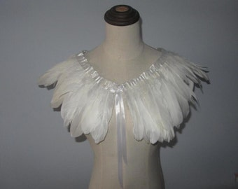 White feathers SHAWL Shrug Shoulders Feathers cape Halloween costume ,vintage capelet for Adult