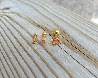 Small CZ Tragus Helix  Cartilage Conch Earrings. Peach CZ Gold Post. 2 mm, 4 mm. 5 mm.