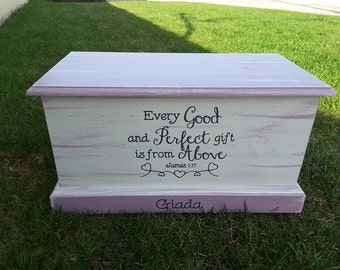 Toy Box Wood Chest. This distressed wooden chest is perfect for your home or in a child's/nursery bedroom, customization available.