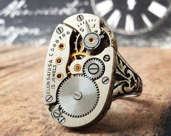 Elgin Movement Ring, Steampunk jewelry, Oval Ring, Silver Ring, Steampunk Ring, Elgin Movement, Silver Jewelry, Watch Movement Ring,