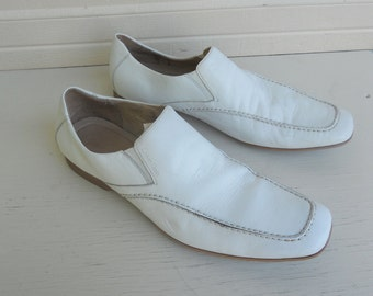 Vintage Men's Off White Leather Loafers by Calvin Klein Size 12