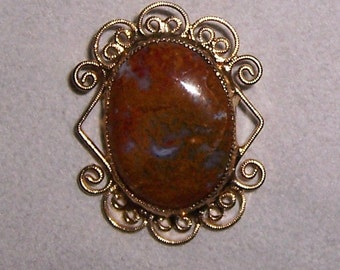Agate Brooch, Agate Pendant, Vintage Agate Jewelry
