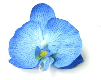 Blue Orchid Flower Hair Clip 1950s Rockabilly Corsage Hawaiian Tropical Vtg 368