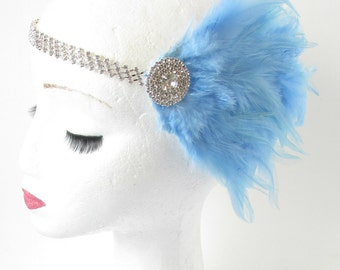 Light Blue Silver Feather Fascinator Headpiece Headband 1920s Flapper Vintage Art Deco Headdress Dress Charleston Great Gatsby Diamante R55