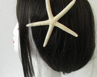Large Real Starfish Hair Clip Beach Bridal Sea Shell Mermaid Boho Festival Cream Ariel Costume Ivory White Bleached Fascinator Sea R81