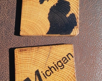 Vintage reclaimed barnwood MICHIGAN coasters (set of 4)