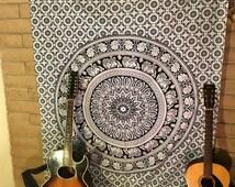 Hand Block Printed Indian Fabric, Fall, Hippie Tapestry, Bohemian Fabric, Chakra, Mandala, Rainbow, Bohemian Wedding, Festival, Summer