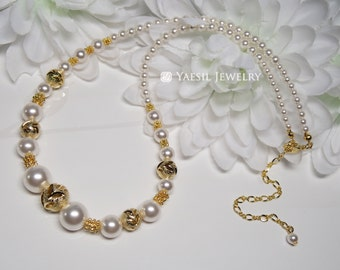 Gold Bridal Necklace, Pearl Necklace, Wedding Necklace, Wedding Jewelry Set