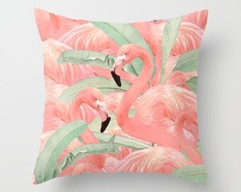 Tropical Flamingo Pillow