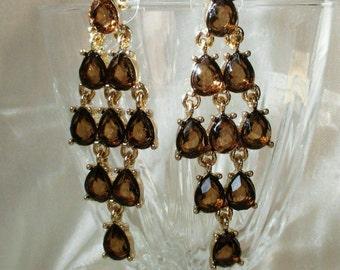 Anne Klein vintage Earrings pierced brown Chandelier Gold Tone Drop dangle on card classic stunning teardrop faux topaz Jewelry designer AK