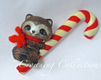 1981 Ambassador Raccoon on Candy Cane Ornament Hallmark Keepsake Vintage Series RARE