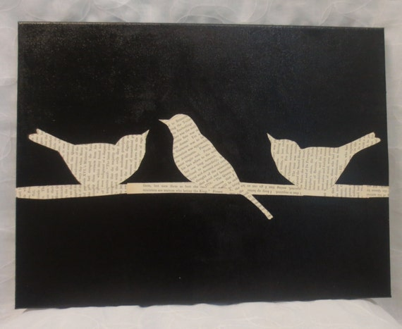 Wire Kitchen Wall Decor : Birds on a wire decor old book page wall art by orangecreek