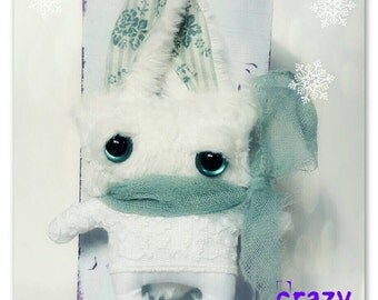 SALE!! Ooak crazy arctic bunny creature :-) a friend for Blythe & Co.