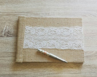 """Guestbook """"Burlap and lace"""""""